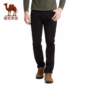 骆驼男装 春秋款男士直筒中腰商务休闲裤 纯色宽松长裤微弹大码裤