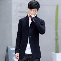 冬季新款男士风衣中长款毛呢外套韩版修身青年呢子大衣秋冬装