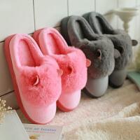 棉拖鞋女包跟情侣厚底冬季月子居家居保暖室内防滑毛毛拖鞋男冬天