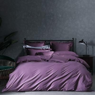 百丽丝家纺 水星出品 长绒棉贡缎素色简约纯色四件套 汉格斯1.2米床