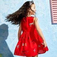 女童连衣裙夏装新款儿童洋气裙子印花雪纺背心裙百褶裙公主裙