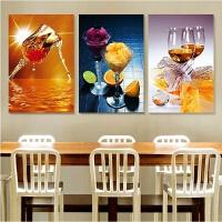 印花十字绣果香酒杯三联画 餐厅十字绣大幅客厅饭厅系列图