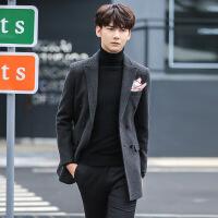 潮男士纯色西装领羊毛呢大衣青年韩版反季呢子外套中长款修身男装