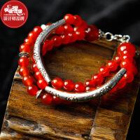 凤凰涅磐手链女复古时尚多层天然水晶红玛瑙手工饰品中国风礼物