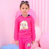 芭比童装女童2017新款冬装女孩可爱公主上衣儿童加绒连帽套头卫衣