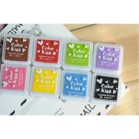 8色一套韩国文具 可爱糖果色爱心8色印泥 印油 印台  DIY手工印泥/印油 Kiss印章/指纹印章 糖果8色小印泥 一套八色