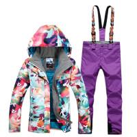 冬季滑雪服套装女款户外防风防水保暖登山服冲锋衣