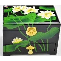 平遥推光漆器首饰盒木质复古带锁结婚礼物新娘梳妆化妆盒中式红色 绿色 素荷花2018新款