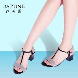 Daphne/达芙妮夏季新品 时尚撞色粗高跟露趾女凉鞋1016303142