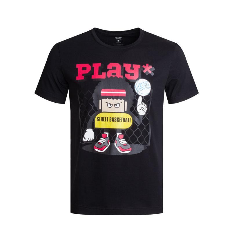 沃特圆领T恤男夏季针织短袖上衣薄轻便透气吸汗休闲运动服