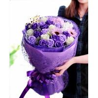 圆形花束玫瑰香皂花礼盒送女友妈妈闺蜜肥皂花生日礼物 紫罗兰 小小清新紫