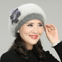 兔毛贝雷帽子女冬天老人帽紫女冬季中老年人帽奶奶帽妈妈帽婆婆帽