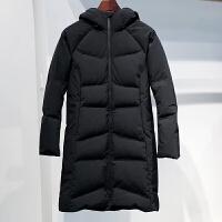 男装2017潮牌新款羽绒服男中长款修身加厚连帽男士外套潮保暖 黑色