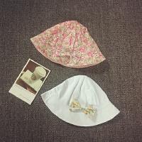 儿童帽子渔夫帽婴儿盆帽宝宝太阳帽遮阳帽夏天女童布帽可折叠双面