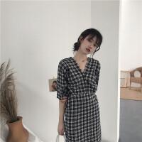 夏装韩版复古格子短袖V领高腰连衣裙宽松收腰显瘦甜美气质A字裙子
