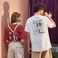 [1件2.5折�r53.8元]唐�{情�H�b夏�b新款短袖T恤男卡通半袖女上衣潮