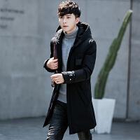 新款冬季韩版修身加厚羽绒服男士外套中长款帅气青年连帽冬装 黑色 M