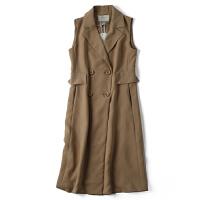冬装新款女装韩版西装双排扣领修身显瘦中长款马甲外套JY8902