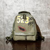 字母双肩包女韩版休闲旅行背包铆钉时尚个性帆布书包女 绿色 3绿色