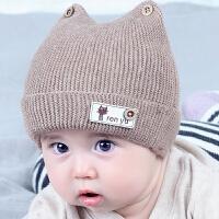 婴儿帽子秋冬季0-3-6个月初生新生幼儿毛线帽潮男女宝宝保暖韩版