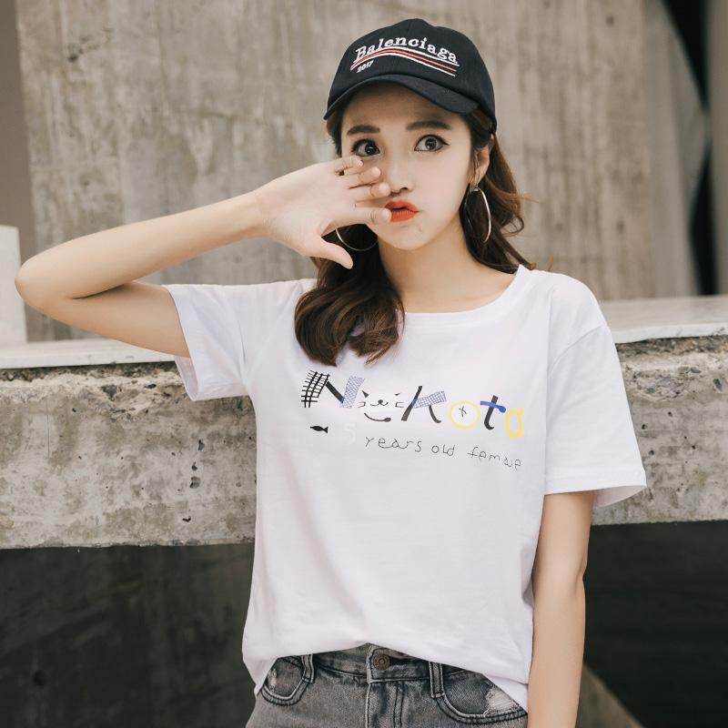 RANJU 然聚2018女装夏季新品新款短袖女夏装韩系chic上衣的打底衫体恤白色t恤