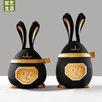 家居装饰品摆件创意礼品摆设新中式客厅玄关树脂兔子摆件结婚礼物 抖音