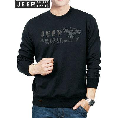 吉普JEEP卫衣 春秋青年男士卫衣 圆领套头长袖T恤卫衣休闲男装