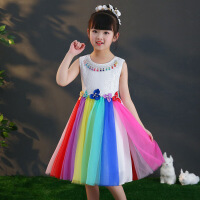 女孩子夏装女童裙子小孩3儿童4中童春秋季6彩虹公主裙8连衣裙12岁