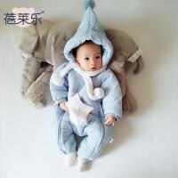 20180505065349510珊瑚绒睡衣女婴儿连体衣服0岁3男宝宝1秋冬装6保暖外套装加绒加厚