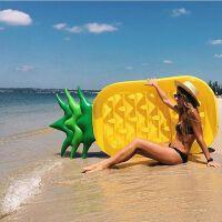 水上充气菠萝浮床凤梨浮排送电泵水果浮岛浮板气垫漂流游泳玩具