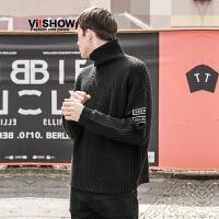 VIISHOW秋装新款男士针织衫字母印花毛衣男套头半高领毛线衣
