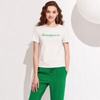 红袖/HOPESHOW字母印花标语圆领套头T恤