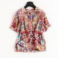 复古典雅夏季100真丝舒适上衣T恤个性图案印花小衫6808 花色
