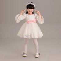 儿童礼服 女童公主裙长袖蕾丝 短款演出服秋 白色