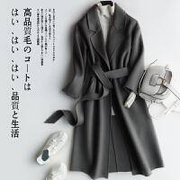 双面呢羊毛大衣女士中长款毛呢外套秋冬季羊绒呢子收腰韩版