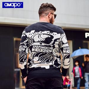 【限时抢购到手价:99元】AMAPO潮牌大码男装胖子加肥加大码宽松套头嘻哈针织衫打底毛衣男