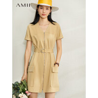 【券后预估价:209元】Amii极简时尚工装风连衣裙2020夏季新款直筒V领配腰带拉链中裙