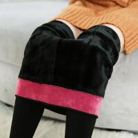 加绒妈妈打底裤女式冬天外穿超厚踩脚一体长裤东北大棉裤加厚保暖 黑色 均码