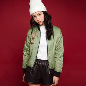 七格格冬新款 潮流卡通印花军绿宽松棒球服夹克棉服短外套 女