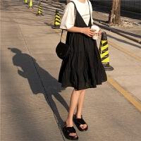 韩版夏季宽松A字棉麻吊带背心裙百搭复古小黑裙娃娃裙学生连衣裙