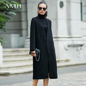 Amii[极简主义]高雅利落 深V领羊毛呢外套女2017冬装新宽松长大衣