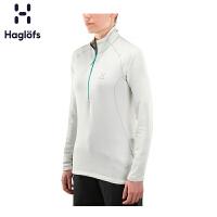 Haglofs火柴棍女款户外运动半拉链保暖修身抓绒衣603291 欧版