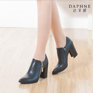 Daphne/达芙妮秋款 漆皮时尚超高跟商务尖头侧拉链女鞋