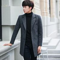 秋冬季男士毛呢大衣韩版修身风衣男中长款时尚呢子外套潮男装衣服 黑色 M