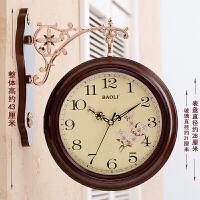 双面挂钟 欧式创意客厅时尚钟表两面创意个性田园石英钟 欧式简约 - 咖 16英寸(直径40.5厘米)