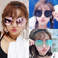 新款太阳镜女士时尚炫彩反光眼镜 韩版圆脸眼镜潮个性眼镜大框墨镜