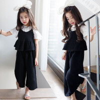 2018女童夏季新款套装韩版儿童洋气吊带九分阔腿裤时髦休闲两件套