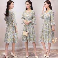 连衣裙潮流可爱修身显瘦气质唯美长袖中长款领年夏季