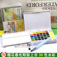 日本樱花泰伦斯固体水彩30色套装 透明水彩颜料 便携式写生水彩,30块固体颜料、中号自来水笔一支、海绵两条、调色盘一块