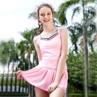 �和�泳衣女孩中大童分�w中�W生少女15�q保守平角�裙式泳�b套�b